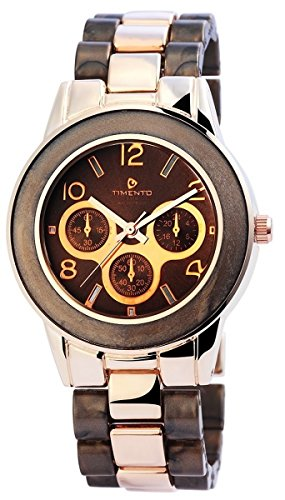 Timento Analog Metall 39 mm Rosegold Braun 510037000006