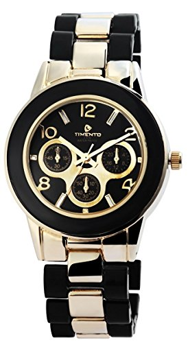 Timento Analog Metall 39 mm Gold Schwarz 510001000006