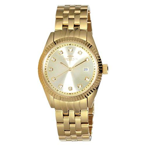 Oniss Shine 46mm Armband Edelstahl Gold Gehaeuse Quarz Analog ON6669 GG