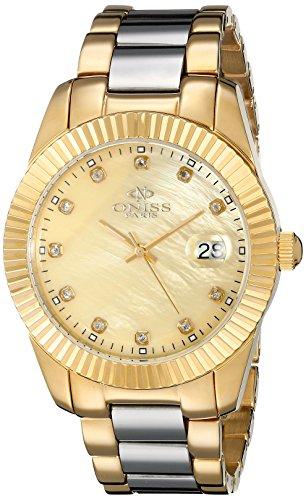 Oniss Ridge 47mm Armband Edelstahl Gold Gehaeuse Schweizer Quarz Analog ON6019 LG