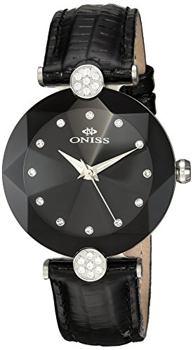 Oniss Facet 35 03mm Armband Leder Schwarz Gehaeuse Edelstahl Schweizer Quarz on8776 LBK