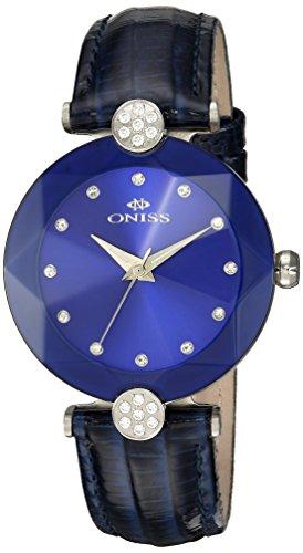 Oniss Facet 35 03mm Armband Leder Blau Gehaeuse Edelstahl Schweizer Quarz on8776 LBU