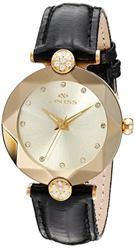 Oniss Facet 35 03mm Armband Leder Schwarz Gehaeuse Edelstahl Schweizer Quarz on8776 LGG