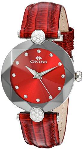 Oniss Facet 35 03mm Armband Leder Lila Gehaeuse Edelstahl Schweizer Quarz on8776 LRD