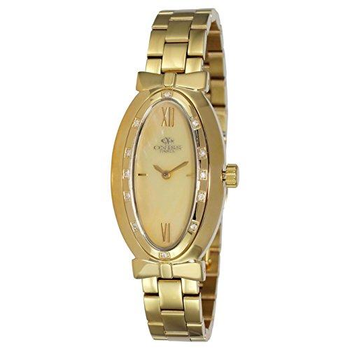 Oniss Oval Armband Edelstahl Gold Gehaeuse Schweizer Quarz Zifferblatt Gelb ON2279 LG