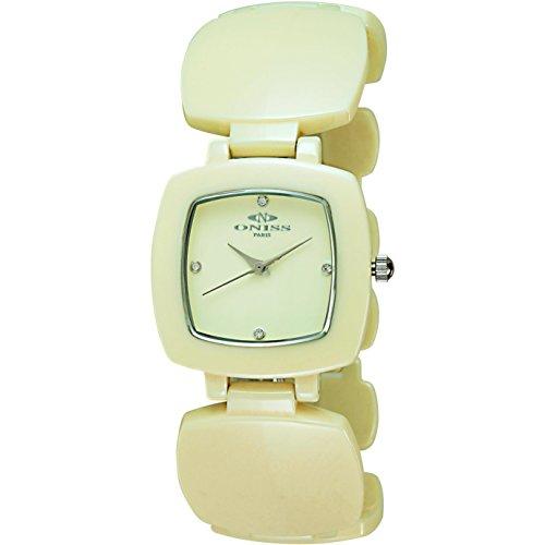 Oniss Beauty 35mm Armband Keramik Gelb Gehaeuse Saphirglas Schweizer Quarz ON8050 L YL