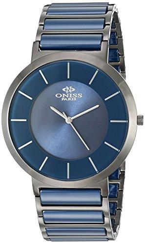 Oniss Slim 44mm Armband Edelstahl Zwei Ton Gehaeuse Schweizer Quarz Analog ON5555 11M
