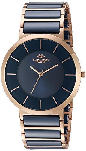 Oniss Slim 44mm Armband Edelstahl Zwei Ton Gehaeuse Schweizer Quarz Analog ON5555 22M