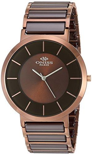 Oniss Slim 44mm Armband Edelstahl Zwei Ton Gehaeuse Schweizer Quarz Analog ON5555 44M