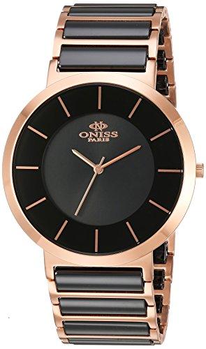 Oniss Slim 44mm Armband Edelstahl Zwei Ton Gehaeuse Schweizer Quarz Analog ON5555 55M