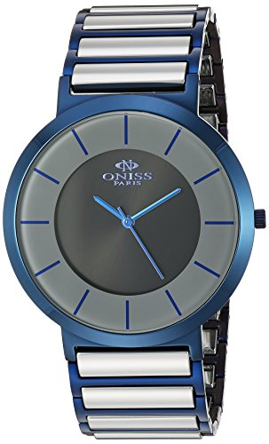 Oniss Slim 44mm Armband Edelstahl Zwei Ton Gehaeuse Schweizer Quarz Analog ON5555 99M