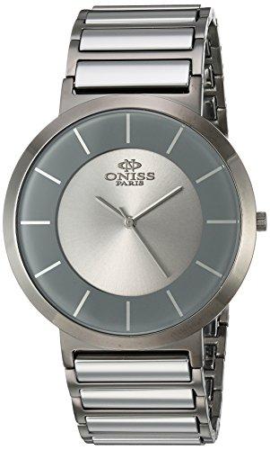 Oniss Slim 44mm Armband Edelstahl Gehaeuse Schweizer Quarz Zifferblatt Grau ON5555 77M