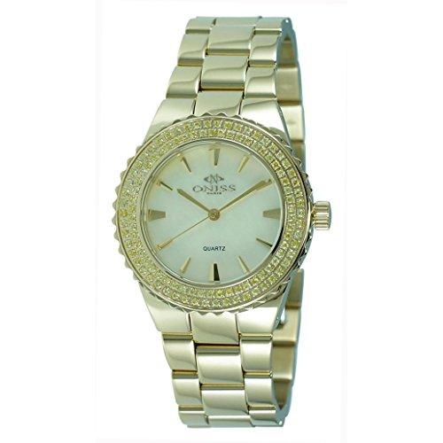 Oniss Magnifico 45mm Armband Edelstahl Gold Gehaeuse Schweizer Quarz ON8181 LG Y Y C