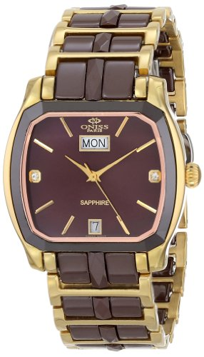 Oniss Paris Damen ON605 LG BRN Sappir Schweizer Quartz Keramik und Edelstahl Uhr