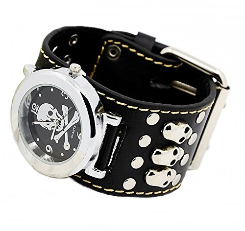 Armbanduhr Quartzuhr Bikeruhr Lederarmband Totenkopf Skull schwarz