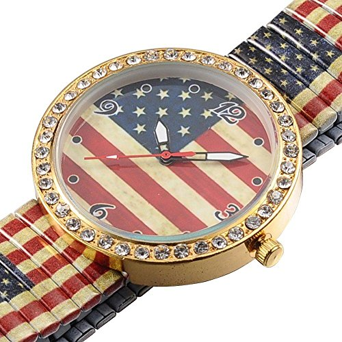 Armbanduhr Quarzuhr Flagge USA Strass Bling