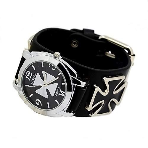 Armbanduhr Quartzuhr Bikeruhr Lederarmband Eisernes Kreuz schwarz