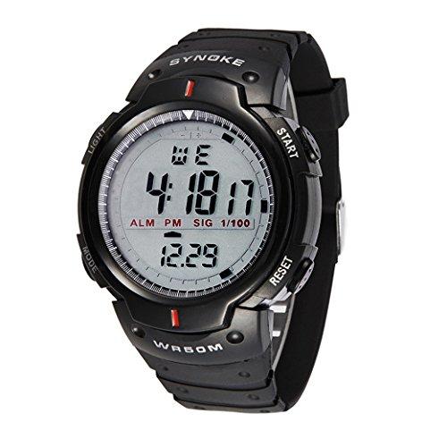 Tangda Kinder Armbanduhr Jungen Armband Uhr LED Digital Elektronische Sport Uhren Wasserdichte Schule Uhr Militaer Fahren Uhren Quarzuhr Watch Schwarz