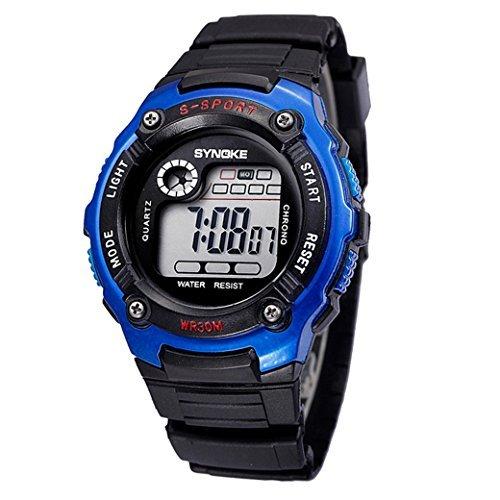 Tangda Kinder Armbanduhr Unisex Jungen Maedchen Armband Uhr Digital LED Sport Uhren Wasserdichte Schule Uhr Alarm Quarzuhr Watch Blau