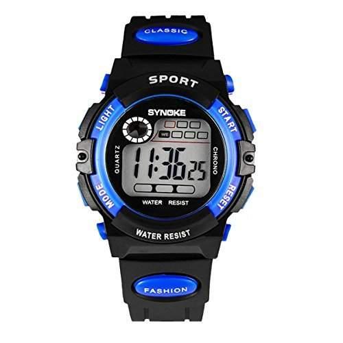 Tangda Kinder Armbanduhr Unisex Jungen Maedchen Wandern Armband Uhr Elektronische Sport Uhren Wasserdichte Schule Uhr Alarm Wrist Watch - Blau