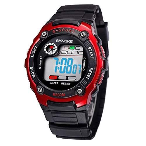 Tangda Kinder Armbanduhr Unisex Jungen Maedchen Armband Uhr Digital LED Sport Uhren Wasserdichte Schule Uhr Alarm Quarzuhr Watch - Blau