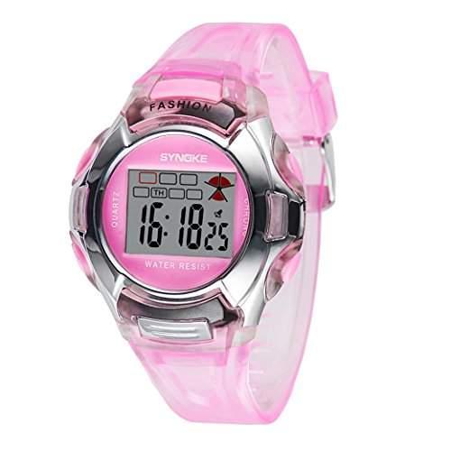 Tangda Kinder Armbanduhr Maedchen Armband Uhr Digital Crystal Elektronische Sport Uhren Wasserdichte Schule Uhr Alarm Watch - Rosa