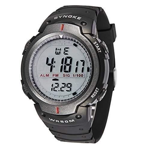 Tangda Kinder Armbanduhr Jungen Armband Uhr LED Digital Elektronische Sport Uhren Wasserdichte Schule Uhr Militaer Fahren Uhren Quarzuhr Watch - Grau