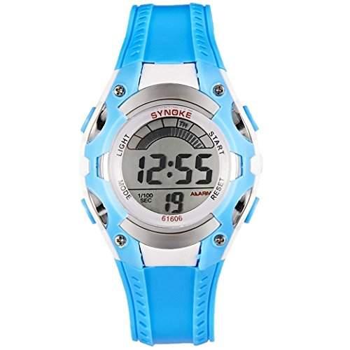 Tangda Kinder Armbanduhr Jungen Maedchen Armband Uhr Digital Display Sport Uhren Schule Uhr Children Watch - Blau