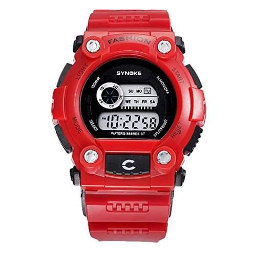 Tangda Kinder Armbanduhr Jungen Maedchen Armband Uhr Digitalanzeige Sport Uhren 30M Wasserdichte Schule Uhr Militaer Fahren Uhren Quarzuhr Watch - Rot