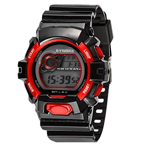 Tangda Jungen Maedchen Armband Uhr Kinder Armbanduhr Sport Uhren Wasserdichte Schule Uhr Elektronische Uhren Watch - Rot