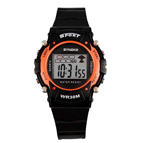 Tangda Jungen Maedchen Armband Uhr Kinder Armbanduhr Digital Outdoor Sport Uhren Schule Uhr Chronograph Calendar Wristband Watches - Orange