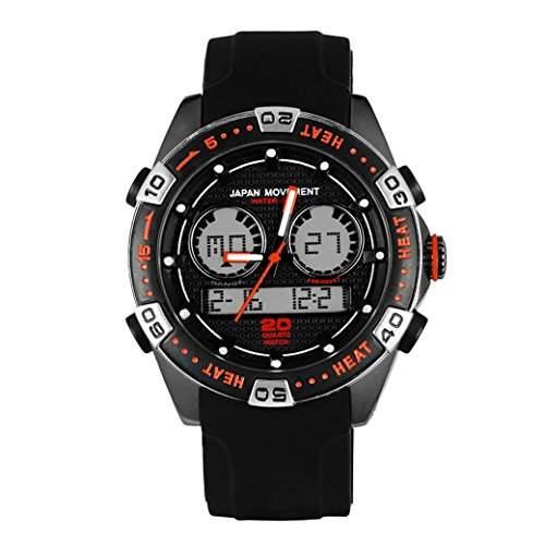 Tangda Kinder Armbanduhr Jungen Armband Uhr Digital Outdoor Sport Uhren Militaer Racing Uhren 30M Wasserdichte Schule Uhr PU-Band Watch - Schwarz