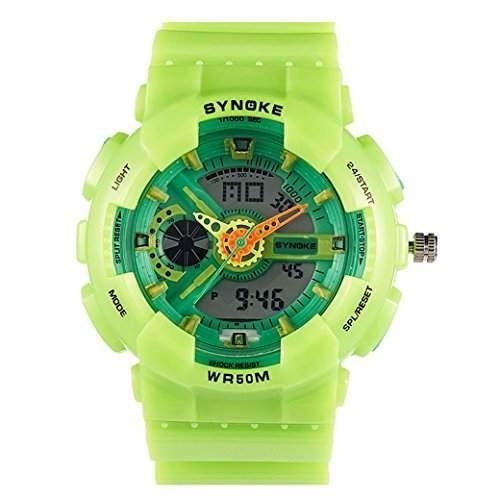 Tangda Jungen Maedchen Armband Uhr Kinder Armbanduhr Digital Outdoor Sport Uhren Schule Uhr 30M Wasserdichte Schwimm Watch - Gruen