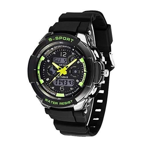 Tangda Jungen Maedchen Armband Uhr Armbanduhr Outdoor Sport Wasserdichte Uhren Schule Uhr Dual Time Digital Watch - Gruen