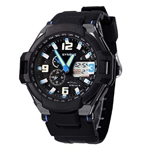 Tangda Jungen Maedchen Armband Uhr Armbanduhr Multi Funktion Militaer Sport Uhr LCD Datum Digital Wasserdichte Uhren Dual Display Digital Swimming Watch - Blau
