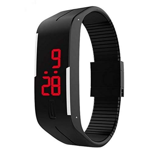 Tangda Jungen Maedchen Armband Uhr Kinder Armbanduhr Duenne Sport Silikon Digital LED Uhren Schule Uhr Wrist Watch - Schwarz