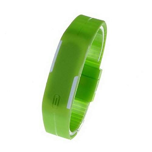 Tangda Jungen Maedchen Armband Uhr Kinder Armbanduhr Duenne Sport Silikon Digital LED Uhren Schule Uhr Wrist Watch - Gruen