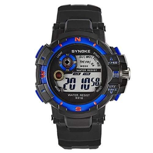 TANGDA SYNOKE Kind Armbanduhr Unisex Wandern Armband Uhr Nachtleuchtende Elektronische Sport Uhren Alltagsleben Wasserdichte Student Uhr Alarm Digitaluhr Wrist Watch - SchwarzBlau