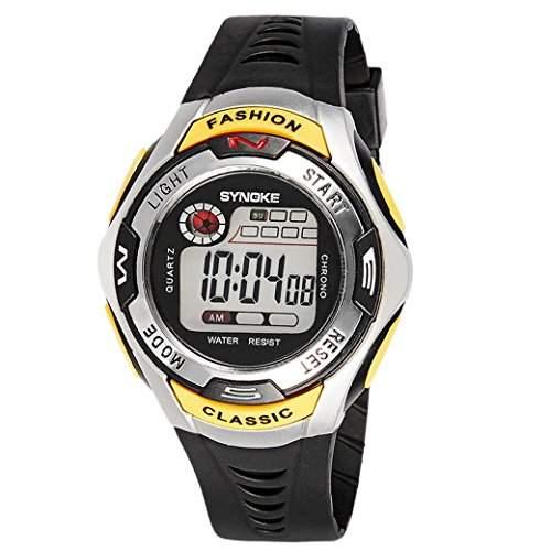TANGDA SYNOKE Kind Armbanduhr Unisex Jungen Maedchen Digitaluhr Sport Uhren Wandern Armband Uhr Wasserdichte 3ATM Student Uhr Alarm Digitaluhr Wrist Watch - Gelb