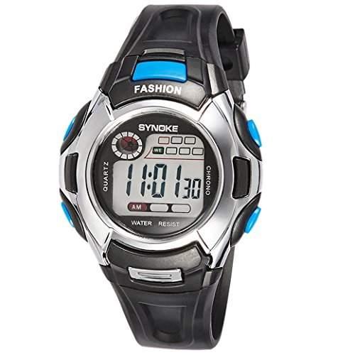 TANGDA SYNOKE Kind Armbanduhr Unisex Jungen Maedchen Wandern Armband Uhr Nachtleuchtende Elektronische Sport Uhren Alltagsleben Wasserdichte Student Alarm Wrist Watch - Blau