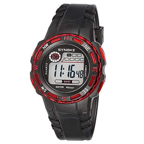 TANGDA SYNOKE Kids Studenten Armbanduhr Unisex Jungen Maedchen Wandern Armband Uhr LED Elektronische Sport Uhren Alltagsleben Wasserdichte Digitaluhr Alarm Wrist Watch - Rot