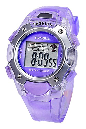 SYNOKE Multifunktion Unisex TPU Band Digitale Uhr lila