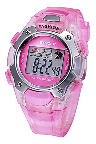 SYNOKE Multifunktion Unisex TPU Band Digitale Uhr rosa