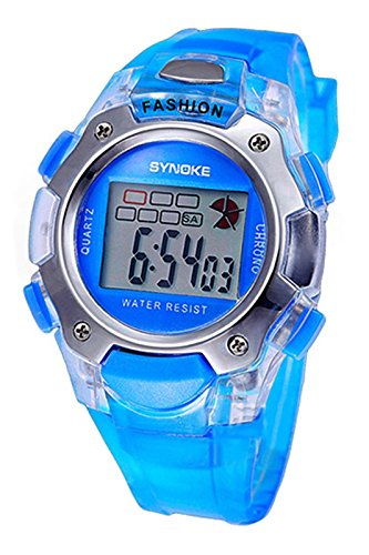 SYNOKE Multifunktion Unisex TPU Band Digitale Uhr blau