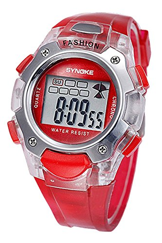 SYNOKE Multifunktion Unisex TPU Band Digitale Uhr rot
