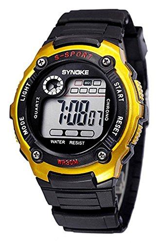 SYNOKE Multifunktion Unisex Sport Digitale Uhr golden