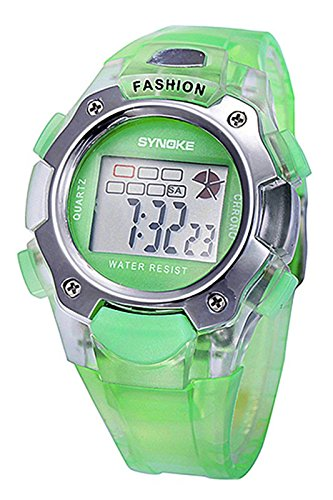 SYNOKE Multifunktion Unisex TPU Band Digitale Uhr gruen