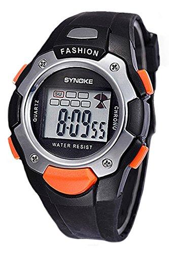 SYNOKE Multifunktion Unisex TPU Band Digitale Uhr Schwarz