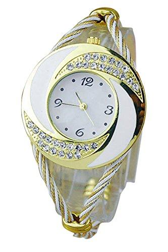 Damen Damen mit runden Zifferblatt und Strass Dekoration gewebte Band Armband Armreif Watch White