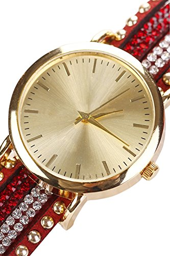 Frauen Strass Crystal Nieten Armband Quarz geflochten wickeln Wrap Wrist Watch Red